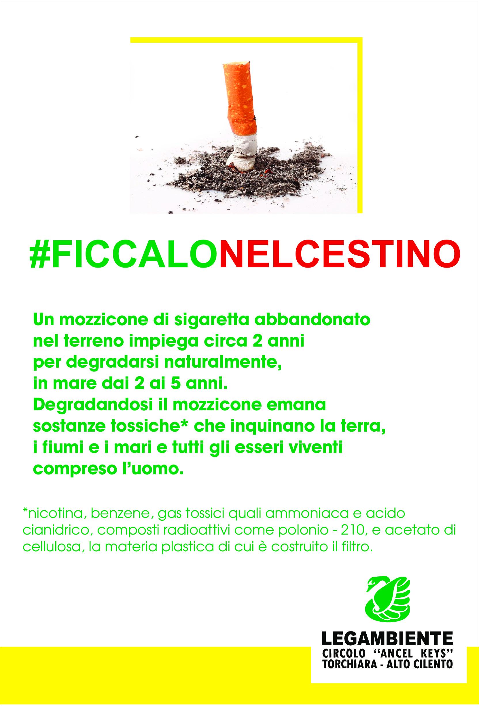 #ficcalonelcestino, Torchiara sensibilizza i cittadini contro le cicche di